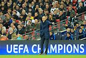 1st November 2017, Wembley Stadium, London, England; UEFA Champions League, Tottenham Hotspur versus Real Madrid; Real Madrid Manager Zinedine Zidane looks frustrated as his team struggle for possession