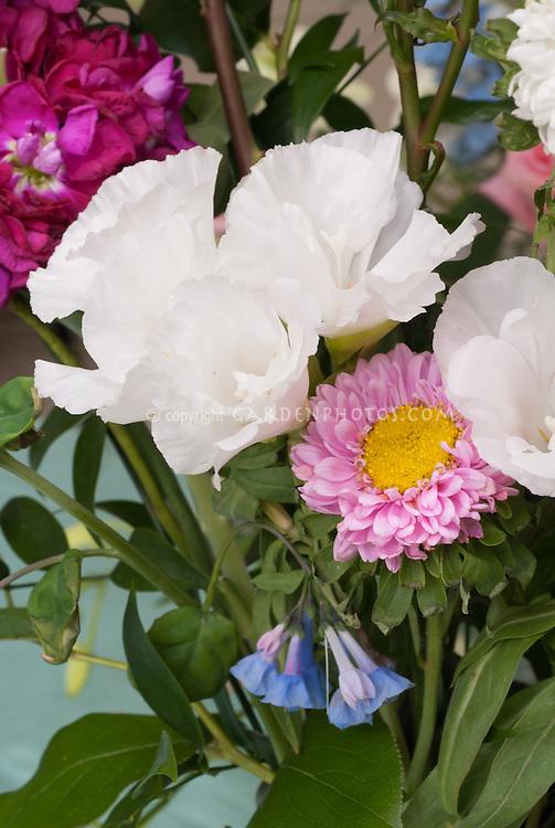 Cut flower arrangement with Eustoma, chrysanthemum, fragrant Matthiola stocks, bluebells, etc