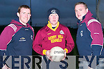 John Dillon, Trainer of the Duagh Senior Football Team (centre) giving some tips to, l-r: Tommy Dillon and Aidan Kelly, Captain of the Duagh Football Team, during training at the North Campus ITT on the all weather pitch on Tuesday evening..
