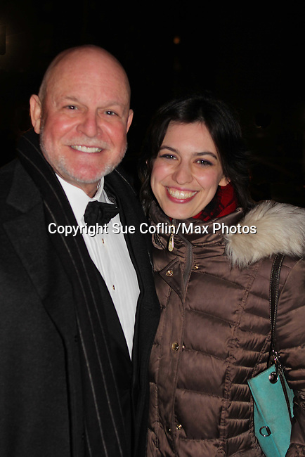 """Guiding Light's Ron Raines """"Alan Spaulding"""" poses with his daughter Charlotte as he along with fellow singers highlighted the evening with song honoring Stephen Sondheim - A Gala Evening to support New York Festival of Song on April 19, 2017 at Carnegie Hall's Weill Recital Hall. (Photo by Sue Coflin/Max Photos)"""