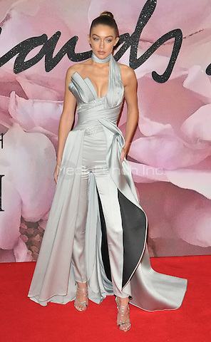Gigi Hadid at the Fashion Awards 2016, Royal Albert Hall, Kensington Gore, London, England, UK, on Monday 05 December 2016. <br /> CAP/CAN<br /> ©CAN/Capital Pictures /MediaPunch ***NORTH AND SOUTH AMERICAS ONLY***