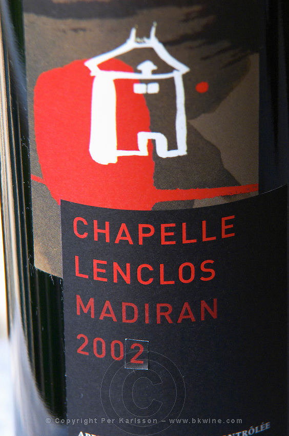 Bottle of detail of label Chapelle Lenclos Madiran France