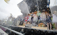 champagne shower on the podium<br /> 1/ winner: Fabian Cancellara (CHE/TrekFactoryRacing)<br /> 2/ Greg Van Avermaet (BEL/BMC)<br /> 3/ Sep Vanmarcke (BEL/Belkin)<br /> <br /> Ronde van Vlaanderen 2014