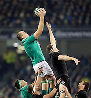 19th November 2016 | IRELAND vs NEW ZEALAND<br /> <br /> Devin Toner beats Brodie Retallick to this lineout ball during the Autumn Series International clash between Ireland and New Zealand at the Aviva Stadium, Lansdowne Road, Dublin,  Ireland. Photo by John Dickson/DICKSONDIGITAL