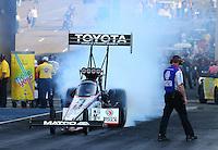 Jul. 18, 2014; Morrison, CO, USA; NHRA top fuel driver Antron Brown during qualifying for the Mile High Nationals at Bandimere Speedway. Mandatory Credit: Mark J. Rebilas-