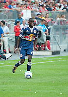 August 21 2010 New York Red Bulls midfielder Tony Tchani #23 in action during a game between the New York Red Bulls and Toronto FC at BMO Field in Toronto..The New York Red Bulls won 4-1.