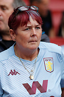 An Aston Villa fan with colour coordinated hair during the Premier League match between Arsenal and Aston Villa at the Emirates Stadium, London, England on 22 September 2019. Photo by Carlton Myrie / PRiME Media Images.