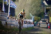 Nikki Harris (GBR/Telenet-Fidea) up the famous Koppenberg cobbles<br /> <br /> Koppenbergcross 2014