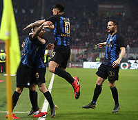 Calcio, Serie A: AC Milan - Inter Milan, Giuseppe Meazza (San Siro) stadium, Milan on 17 March 2019.  <br /> Inter's Matias Vecino (l) celebrates after scoring with his teammates during the Italian Serie A football match between Milan and Inter Milan at Giuseppe Meazza stadium, on 17 March 2019. <br /> UPDATE IMAGES PRESS/Isabella Bonotto