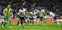 Bolton Wanderers players attack a corner kick<br /> <br /> Photographer Andrew Kearns/CameraSport<br /> <br /> The EFL Sky Bet Championship - Bolton Wanderers v West Bromwich Albion - Monday 21st January 2019 - University of Bolton Stadium - Bolton<br /> <br /> World Copyright © 2019 CameraSport. All rights reserved. 43 Linden Ave. Countesthorpe. Leicester. England. LE8 5PG - Tel: +44 (0) 116 277 4147 - admin@camerasport.com - www.camerasport.com