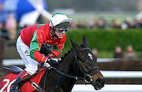 Jockey Richard Johnson riding race horse Jimmy Tennis in the Royal and Sun Alliance Chase at the Cheltenham Festival.