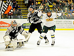 5 February 2011: University of Vermont Catamount forward Tobias Nilsson-Roos, a Sophomore from Malmo, Sweden, celebrates Vermont's 4th goal against the Providence College Friars at Gutterson Fieldhouse in Burlington, Vermont. The Catamounts defeated the Friars 7-1 in the second game of their weekend series. Mandatory Credit: Ed Wolfstein Photo
