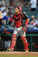 Batavia Muckdogs catcher Rodrigo Vigil (27) during a game against the Tri-City ValleyCats on August 2, 2014 at Joseph L. Bruno Stadium in Troy, New York.  Tri-City defeated Batavia 8-4.  (Mike Janes/Four Seam Images)