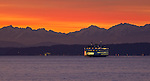 Seattle, WA                               <br /> Two Washington State ferry approaching Elliot Bay with Olympic Mts dusk profile
