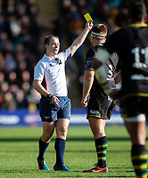 Paul Hill of Northampton Saints is shown a yellow card by referee Ian Tempest. Premiership Rugby Cup Final, between Northampton Saints and Saracens on March 17, 2019 at Franklin's Gardens in Northampton, England. Photo by: Patrick Khachfe / JMP