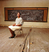 Mayor Perkins, in schoolhouse, after the flood, NC for 'Historic Preservation""