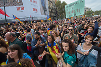 Striking Trade Unions, students and activists gather in University square in Barcelona durng the one day general strike in support of the independence vote. 3-10-17