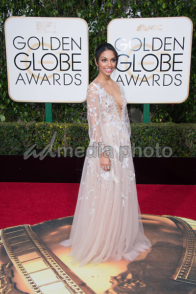 Corinne Foxx, Miss Golden Globe 2016, arrives at the 73rd Annual Golden Globe Awards at the Beverly Hilton in Beverly Hills, CA on Sunday, January 10, 2016. Photo Credit: HFPA/AdMedia
