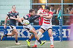 Kanta Shikao of Japan (R) in action against Tyler Spitz of Hong Kong (L) during the Asia Rugby Championship 2017 match between Hong Kong and Japan on May 13, 2017 in Hong Kong, China. Photo by Marcio Rodrigo Machado / Power Sport Images