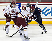 Ryan Fitzgerald (BC - 19), Matthew Gaudreau (BC - 21), Wyatt Newpower (UConn - 20) - The Boston College Eagles defeated the visiting UConn Huskies 2-1 on Tuesday, January 24, 2017, at Kelley Rink in Conte Forum in Chestnut Hill, Massachusetts.