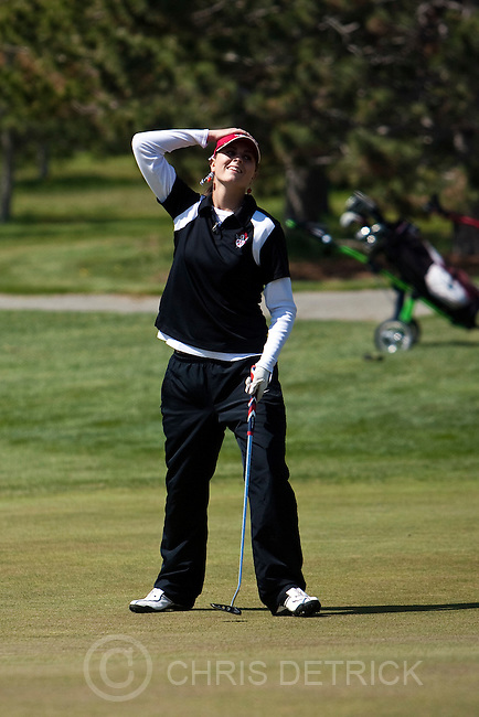 Photo by Chris Detrick | The Salt Lake Tribune .Weber's Tara Green reacts after missing a putt during the 5A Girls Golf High School State Championship at Glenmoor Golf Course Wednesday May 11, 2011.