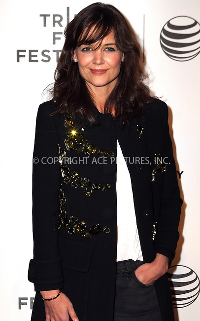 WWW.ACEPIXS.COM<br /> <br /> April 20 2014, New York <br /> <br /> Katie Holmes arriving at the premiere of 'Boulevard' during the 2014 Tribeca Film Festival at BMCC Tribeca PAC on April 20, 2014 in New York City.<br /> <br /> By Line: Nancy Rivera/ACE Pictures<br /> <br /> <br /> ACE Pictures, Inc.<br /> tel: 646 769 0430<br /> Email: info@acepixs.com<br /> www.acepixs.com