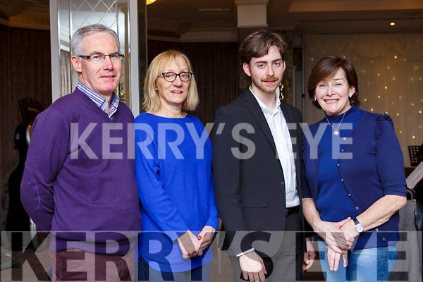 Enjoying the Kerry School of Music, Mistletoe & Wine reception at the Rose Hotel on Sunday evening, l to r, Brendan & Bernie Slattery, Owen Foran (Singer) and Mary Foran.