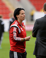 20160408 - ROTHERHAM , ENGLAND : Belgian assistant coach Tamara Cassimon pictured during the female soccer game between England and The Belgian Red Flames - Belgium , the fourth game in the qualification for the European Championship in The Netherlands 2017  , Friday 8 th April 2016 at AESSEAL New York Stadium in Rotherham , England . PHOTO DAVID CATRY