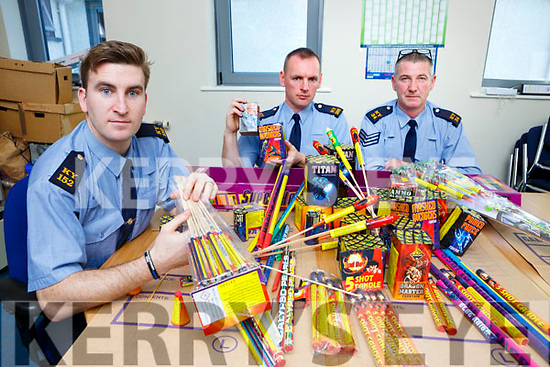 Garda Mike Milner, Garda Brendan McMahon and Garda John O'Gorman with the haul of Fireworks they confiscated in Killarney last weekend