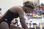 The Gazette Oxin Hill freshman, Peina Pate, prepares herself for her leg of the Women's 400 Yard Freestyle Relay during the MPSSAA-4A3A State Swimming Championships held at the University of Maryland in College Park on Saturday morning.