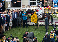 BALTIMORE, MD - MAY 20: Javier Castellano, aboard Cloud Computing  #2, poses for a photo in the winner'c circle with the connections after winning the 142nd Preakness Stakes on Preakness Stakes Day at Pimlico Race Course on May 20, 2017 in Baltimore, Maryland. (Photo by Dan Heary/Eclipse Sportswire/Getty Images)