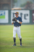 Helena Brewers infielder Brice Turang (18) warms up before a Pioneer League game against the Grand Junction Rockies at Kindrick Legion Field on August 19, 2018 in Helena, Montana. The Grand Junction Rockies defeated the Helena Brewers by a score of 6-1. (Zachary Lucy/Four Seam Images)