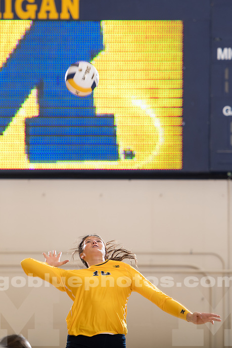The University of Michigan volleyball team defeats New Hampshire University, 3-0, at Cliff Keen Arena in Ann Arbor MI. on September 2, 2017.
