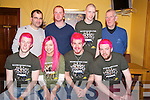 Pictured at the Shave or Dye night in the Golden Nugget bar, Fossa on Sunday night were Darragh Murphy, Tanya McCormick, Colin Davidson, Alan Buckley, Robbie Evans, Pa Walsh, Sean Moynihan and Gerry Collins.