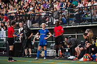 Seattle, WA - Sunday, May 21, 2017: Megan Rapinoe and Seattle Reign FC head coach Laura Harvey during a regular season National Women's Soccer League (NWSL) match between the Seattle Reign FC and the Orlando Pride at Memorial Stadium.