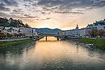 A view down the Salzach River toward Salzburg at sunrise