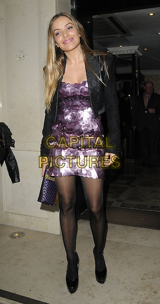 ELEN RIVAS .At the OK! Magazine's Editor in Chief Lisa Byrne's 40th Birthday Party, Flemings Mayfair Hotel, London, England, UK, April 20th 2010..full length purple paillettes sequined sequin dress black jacket tights shoes clutch bag cropped smiling .CAP/CAN.©Can Nguyen/Capital Pictures.