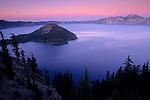 Evening light over Crater Lake, Crater Lake National Park, Oregon
