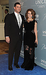 Alyssa Milano and husband arriving at THE 2014 UNICEF Ball Presented By Baccarat, held at the Beverly Wilshire Hotel on January 14, 2014