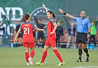 Portland, OR - Wednesday June 28, 2017: Christine Sinclair celebrates a goal with Hayley Raso during a regular season National Women's Soccer League (NWSL) match between the Portland Thorns FC and FC Kansas City at Providence Park.