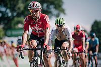 Thomas De Gendt (BEL/Lotto Soudal) up the Mûr de Bretagne<br /> <br /> Stage 6: Brest > Mûr de Bretagne / Guerlédan (181km)<br /> <br /> 105th Tour de France 2018<br /> ©kramon