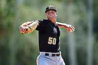 Pittsburgh Pirates pitcher Jake Brentz (50) during an Instructional League Intrasquad Black & Gold game on September 20, 2016 at Pirate City in Bradenton, Florida.  (Mike Janes/Four Seam Images)