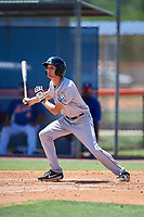 GCL Marlins designated hitter Davis Bradshaw (27) follows through on a swing during a game against the GCL Mets on August 3, 2018 at St. Lucie Sports Complex in Port St. Lucie, Florida.  GCL Mets defeated GCL Marlins 3-2.  (Mike Janes/Four Seam Images)