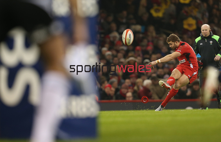 Fullback Leigh Halfpenny kicks a conversion to extend Wales lead.<br /> 2015 RBS 6 Nations<br /> Wales v England<br /> Millennium Stadium <br /> 06.02.15<br /> ©Steve Pope -SPORTINGWALES