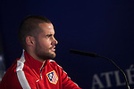 Atletico's Mario Suarez during a press conference the day before quarterfinal first leg Champions League soccer match against Real Madrid at Vicente Calderon stadium in Madrid, Spain. April 13, 2015. (ALTERPHOTOS/Victor Blanco)