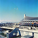 Yoyogi 1st Gymnagium,<br /> OCTOBER 1964 - Ambiance shot : A general view of the Yoyogi 1st Gymnagium venue for the Swimming event of the 1964 Tokyo Olympic Games in Tokyo, Japan.<br /> (Photo by Shinichi Yamada/AFLO) [0348]