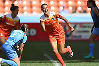 Houston, TX - Saturday May 13, 2017: Houston Dash defender Poliana Barbosa Medeiros (2) celebrates after scoring a goal during a regular season National Women's Soccer League (NWSL) match between the Houston Dash and Sky Blue FC at BBVA Compass Stadium. Sky Blue won the game 3-1.
