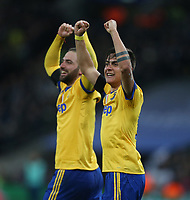 Paulo Dybala of Juventus celebrates scoring his side's second goal with Gonzalo Higuain<br /> <br /> Photographer Rob Newell/CameraSport<br /> <br /> UEFA Champions League Round of 16 Second Leg - Tottenham Hotspur v Juventus - Wednesday 7th March 2018 - Wembley Stadium - London <br />  <br /> World Copyright &copy; 2017 CameraSport. All rights reserved. 43 Linden Ave. Countesthorpe. Leicester. England. LE8 5PG - Tel: +44 (0) 116 277 4147 - admin@camerasport.com - www.camerasport.com
