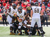 College Park, MD - September 9, 2017: Towson Tigers quarterback Ryan Stover (21) gets sacked during game between Towson and Maryland at  Capital One Field at Maryland Stadium in College Park, MD.  (Photo by Elliott Brown/Media Images International)