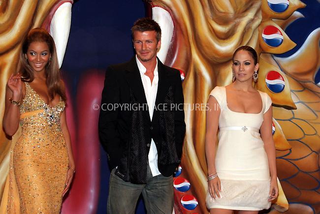 WWW.ACEPIXS.COM . . . . .  ... . . . . US SALES ONLY . . . . .....MADRID, FEBRUARY 23, 2005....Beyonce Knowles, David Beckham and Jennifer Lopez in Madrid to launch the Pepsi Spot campaign which took place at the Circulo De Bellas Artes.....Please byline: FAMOUS-ACE PICTURES-J. APARICIO... . . . .  ....Ace Pictures, Inc:  ..Philip Vaughan (646) 769-0430..e-mail: info@acepixs.com..web: http://www.acepixs.com